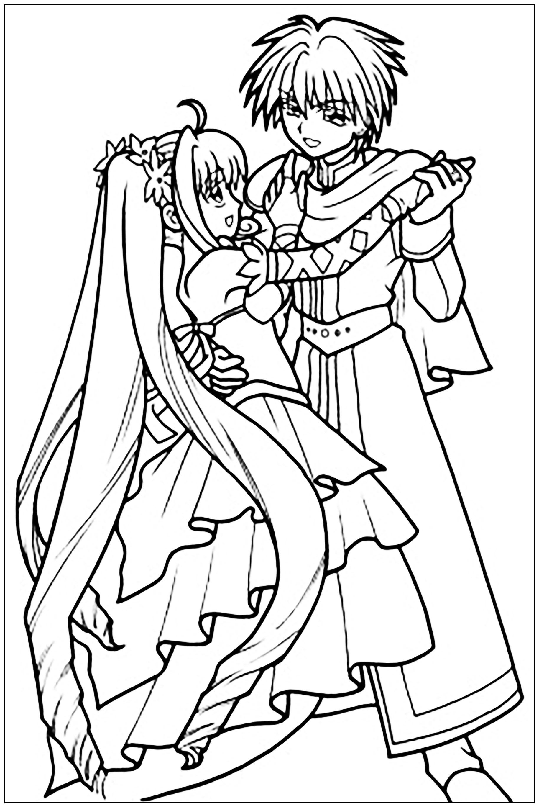 Manga Danse En Robe Et Costume - Divers Animes Et Mangas destiné Coloriage Manga Kawaii