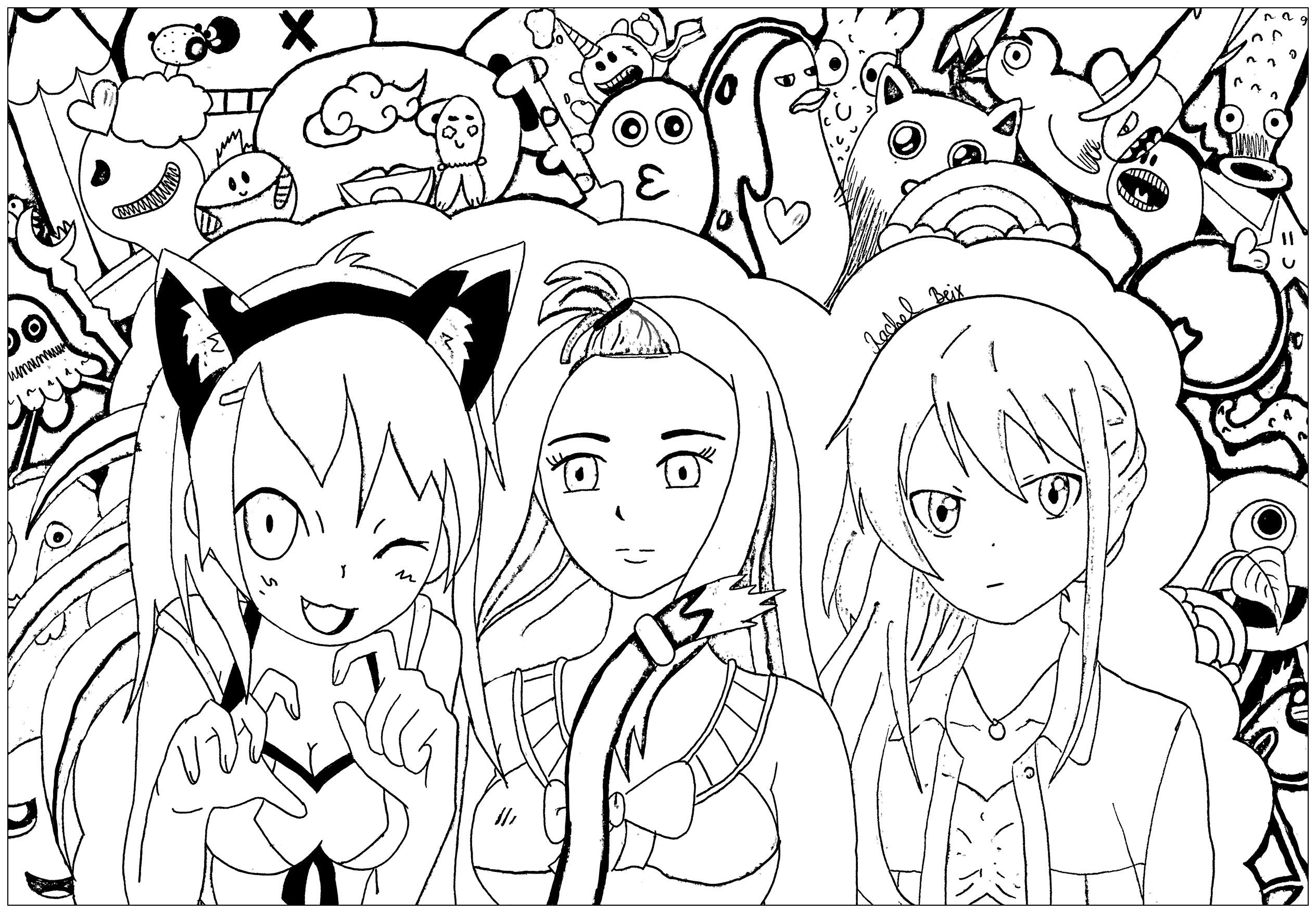 Mangas 4700 - Mangas - Malbuch Fur Erwachsene concernant Coloriage Manga Kawaii
