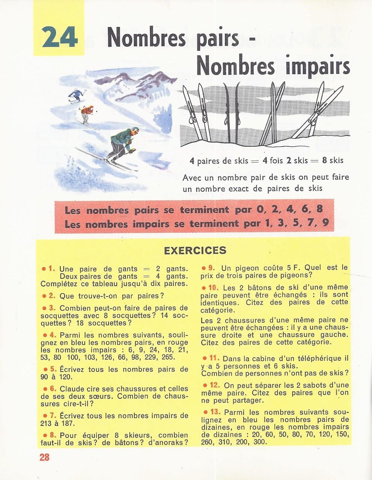 Manuels Anciens: Denise, Rosier, Calcul Ce2 (1963) : Grandes pour Nombres Pairs Et Impairs Ce2