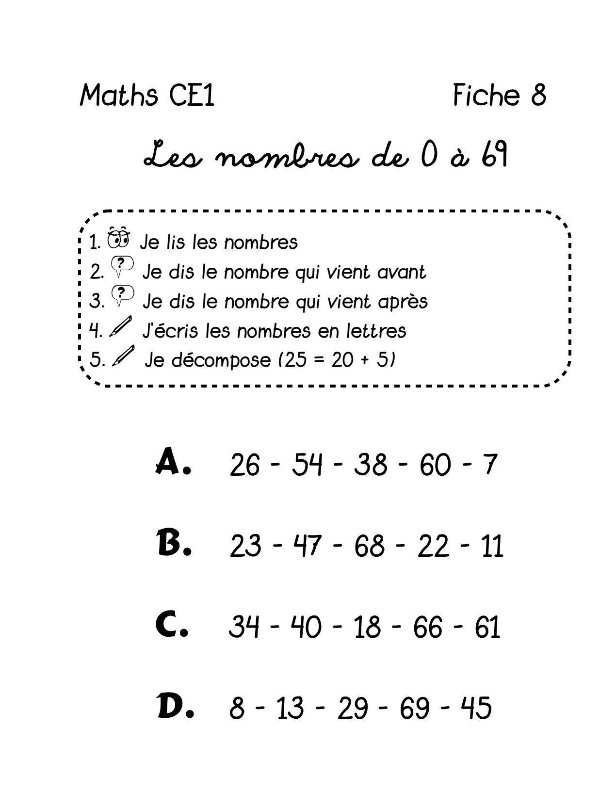 Mathématiques: Fiche 8 - En Route Pour Le Tour Du Monde Avec tout Les Nombres De 0 À 20