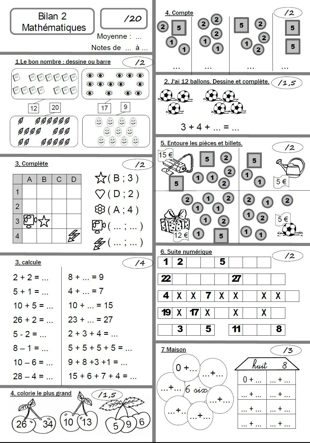 Maths Cp Contrôles - Le Tableau Blanc dedans Fiche D Exercice Grande Section A Imprimer