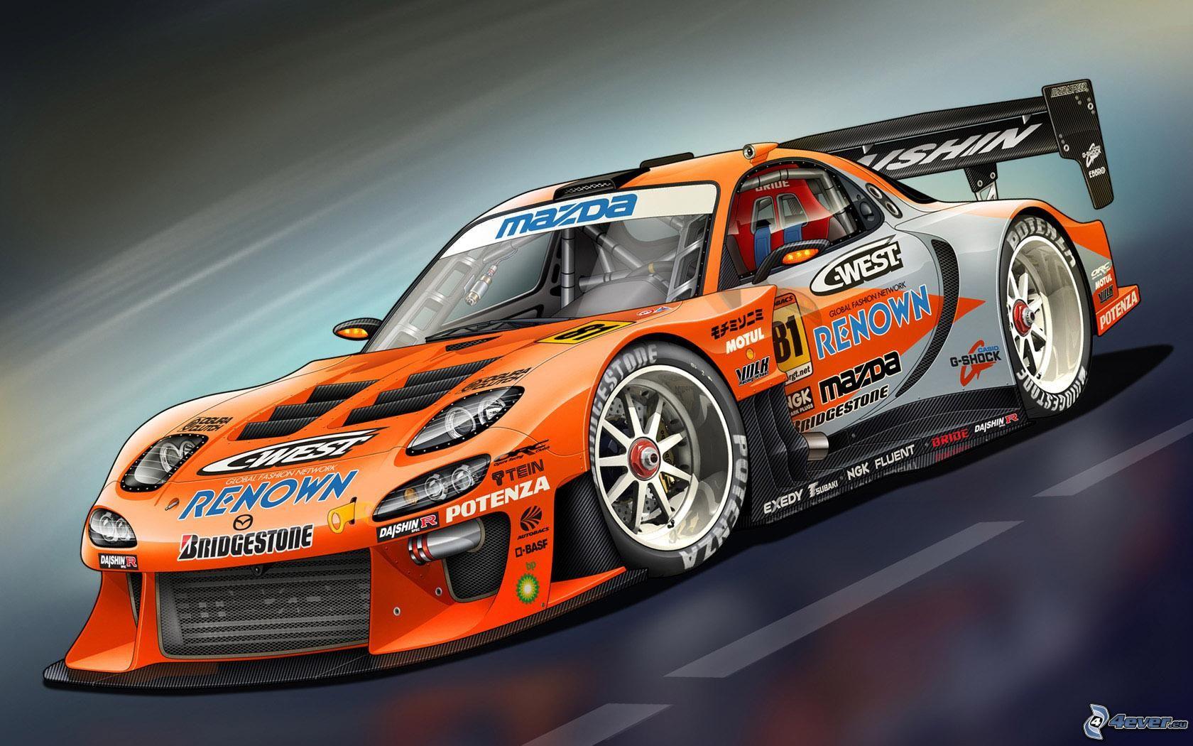 Mazda Rx7 dedans La Voiture De Course Dessin Animé