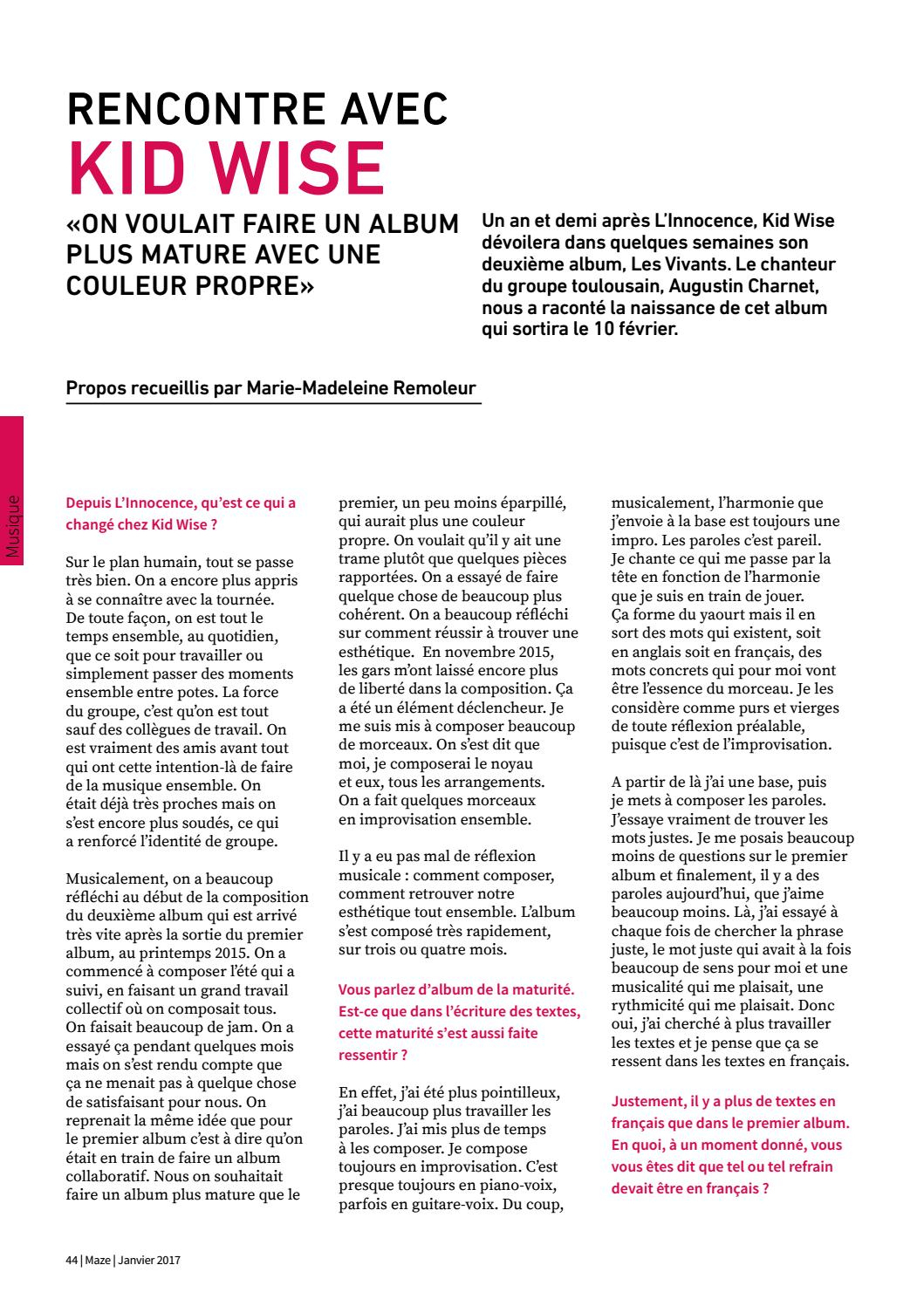 Maze Magazine - N°58 - Janvier 2017 By Maze Magazine - Issuu avec Retrouver Une Musique Avec Parole