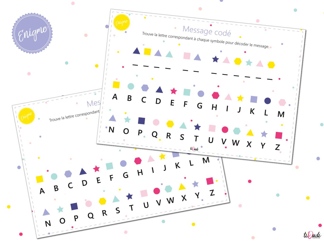 Message Codé - Énigme Pour Escape Game Pour Enfant - Tidudi encequiconcerne Jeux De Lettres Enfants