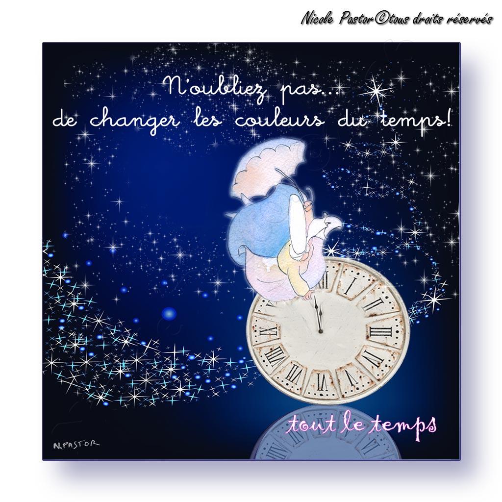 Mini Carte Nouvel An. N'oubliez Pas De Changer Les Couleurs Du Temps. à Poeme Voeux Nouvel An