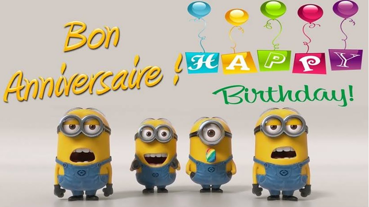 Minions - Joyeux Anniversaire/happy Birthday destiné Bon Anniversaire Humour Video
