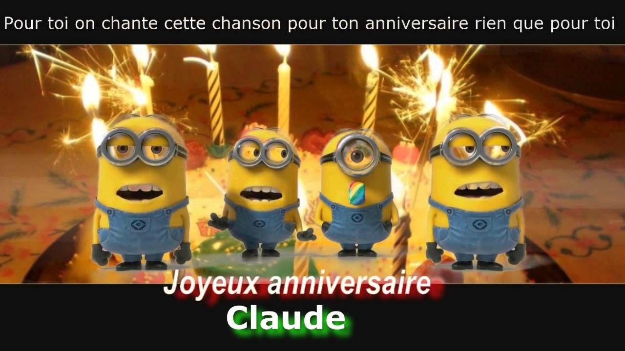 Minions - Joyeux Anniversaire Personnalisé - (Claude à Bon Anniversaire Humour Video