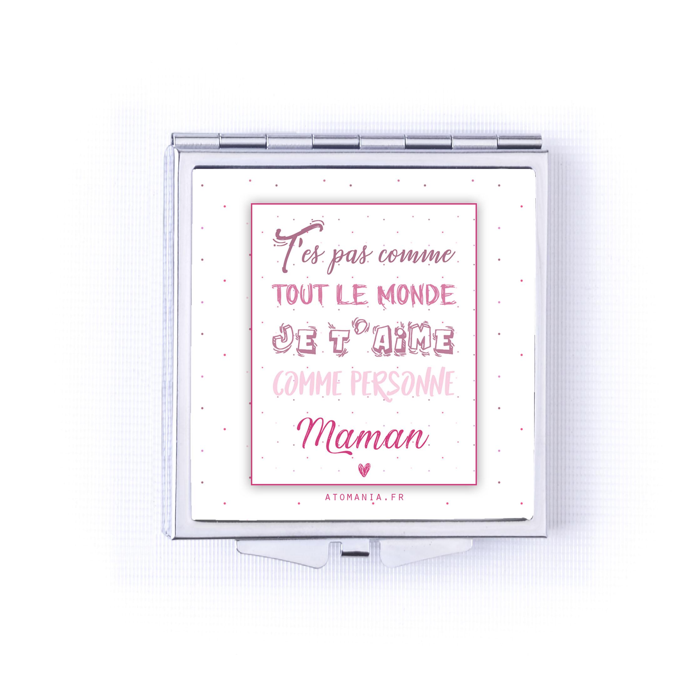 Miroir De Poche Je T'Aime Maman - Rose dedans Texte Maman Je T Aime