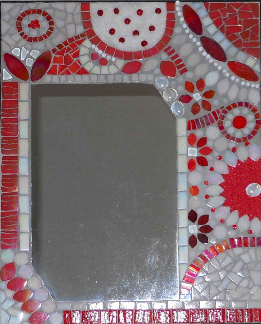 Miroir Rouge Mosaique De Pate De Verre, Billes De Verre intérieur Support Pour Mosaique