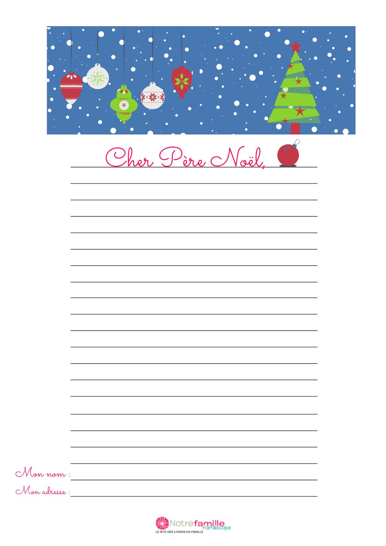 Modèle De Lettre Au Père Noël À Imprimer : Le Sapin De Noël serapportantà Liste Pere Noel Imprimer