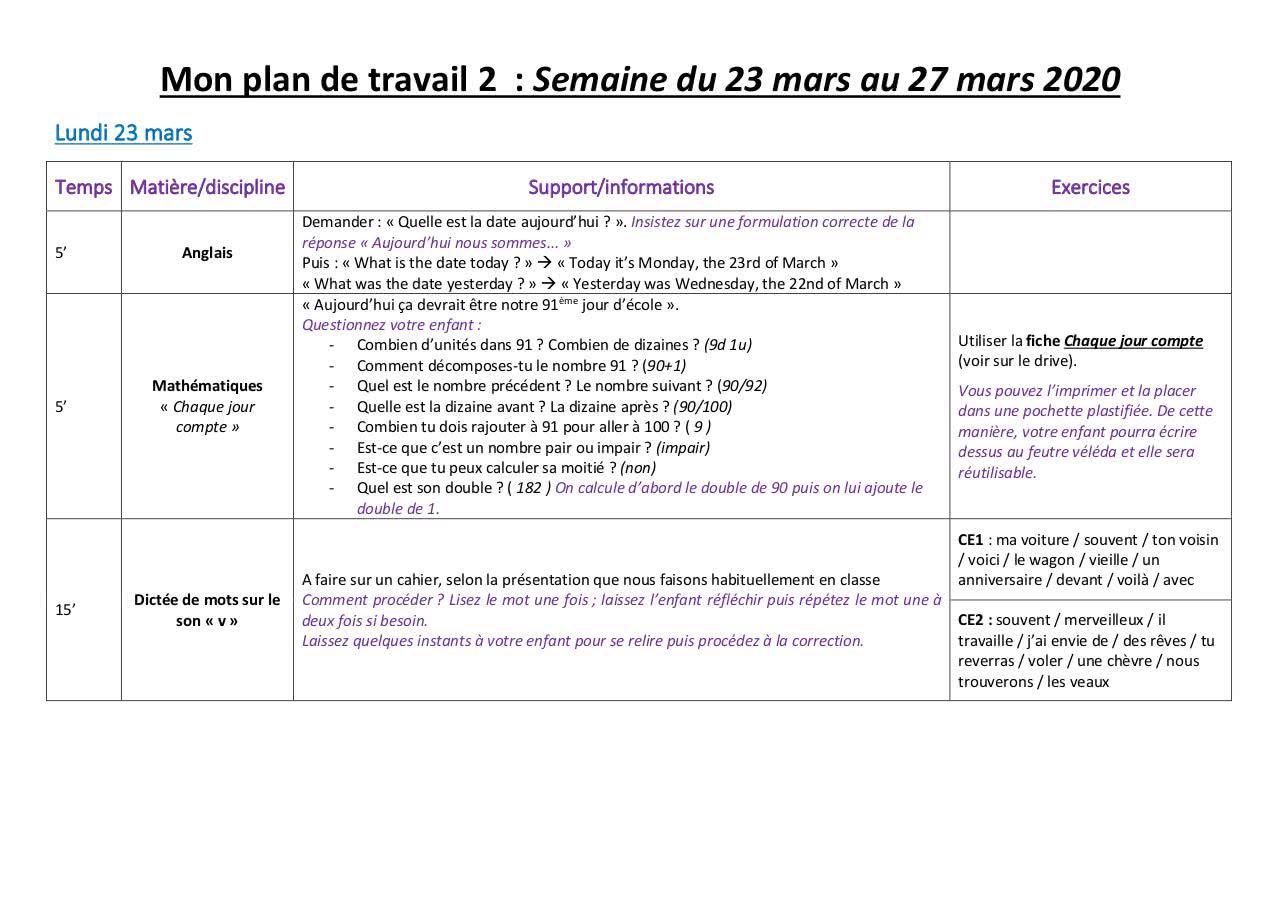 Mon Plan De Travail 2 23 27 Mars – Fichier Pdf intérieur Nombres Pairs Et Impairs Ce2