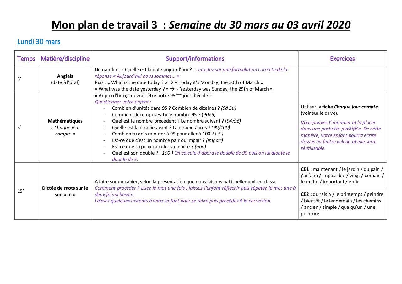 Mon Plan De Travail 3 30 03 Mars Avril - Fichier Pdf concernant Nombres Pairs Et Impairs Ce2