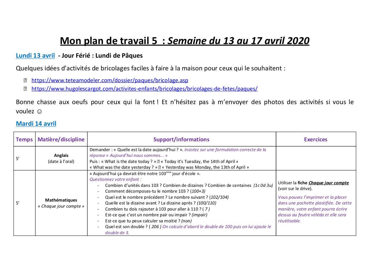 Mon Plan De Travail 5 13 17 Avril - Fichier Pdf destiné Nombres Pairs Et Impairs Ce2