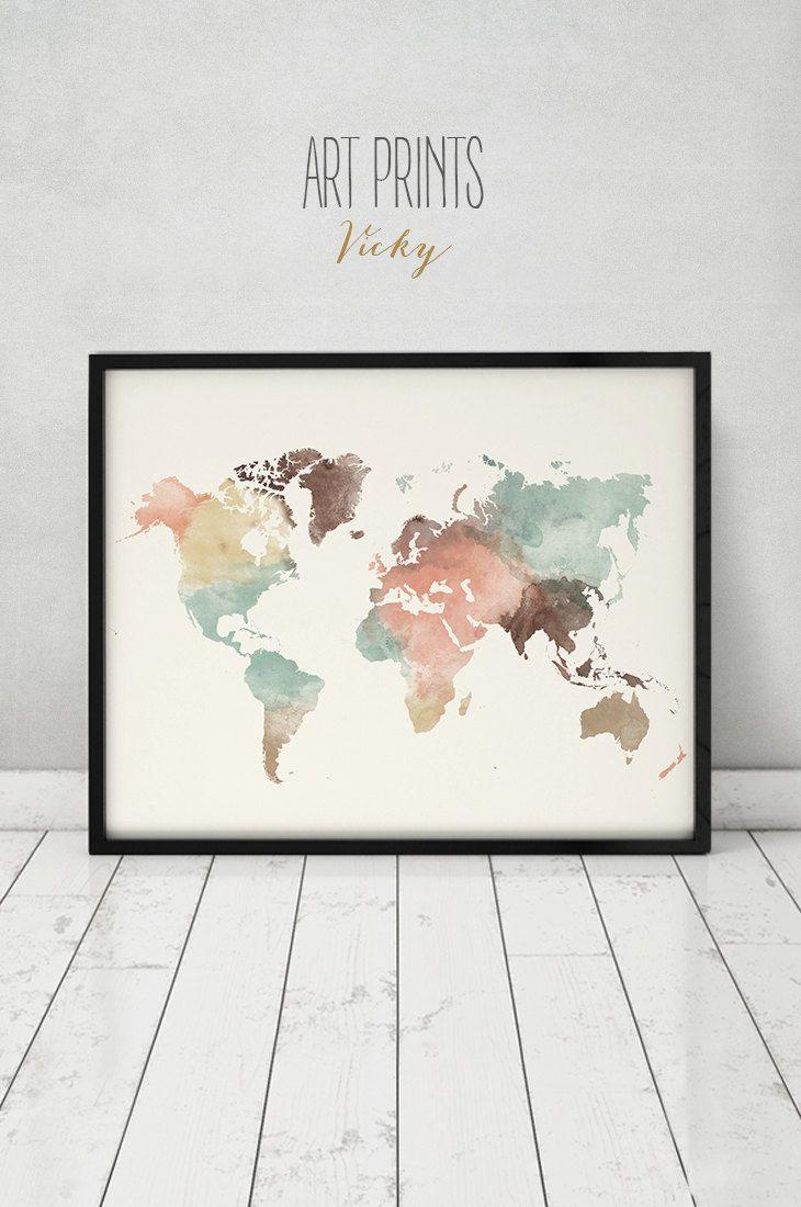 Monde De L'art Carte, Affiche De Monde De Carte, Imprimer concernant Dessin Mappemonde
