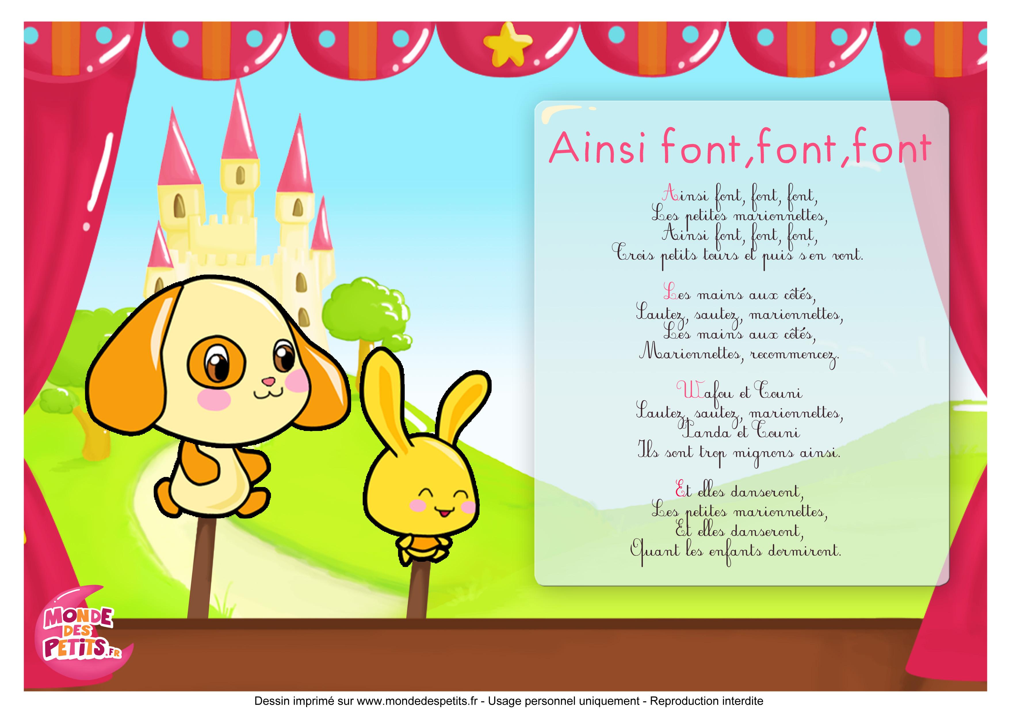 Monde Des Petits - Ainsi Font, Font, Font, Les Petites destiné Les Petites Marionnettes Chanson