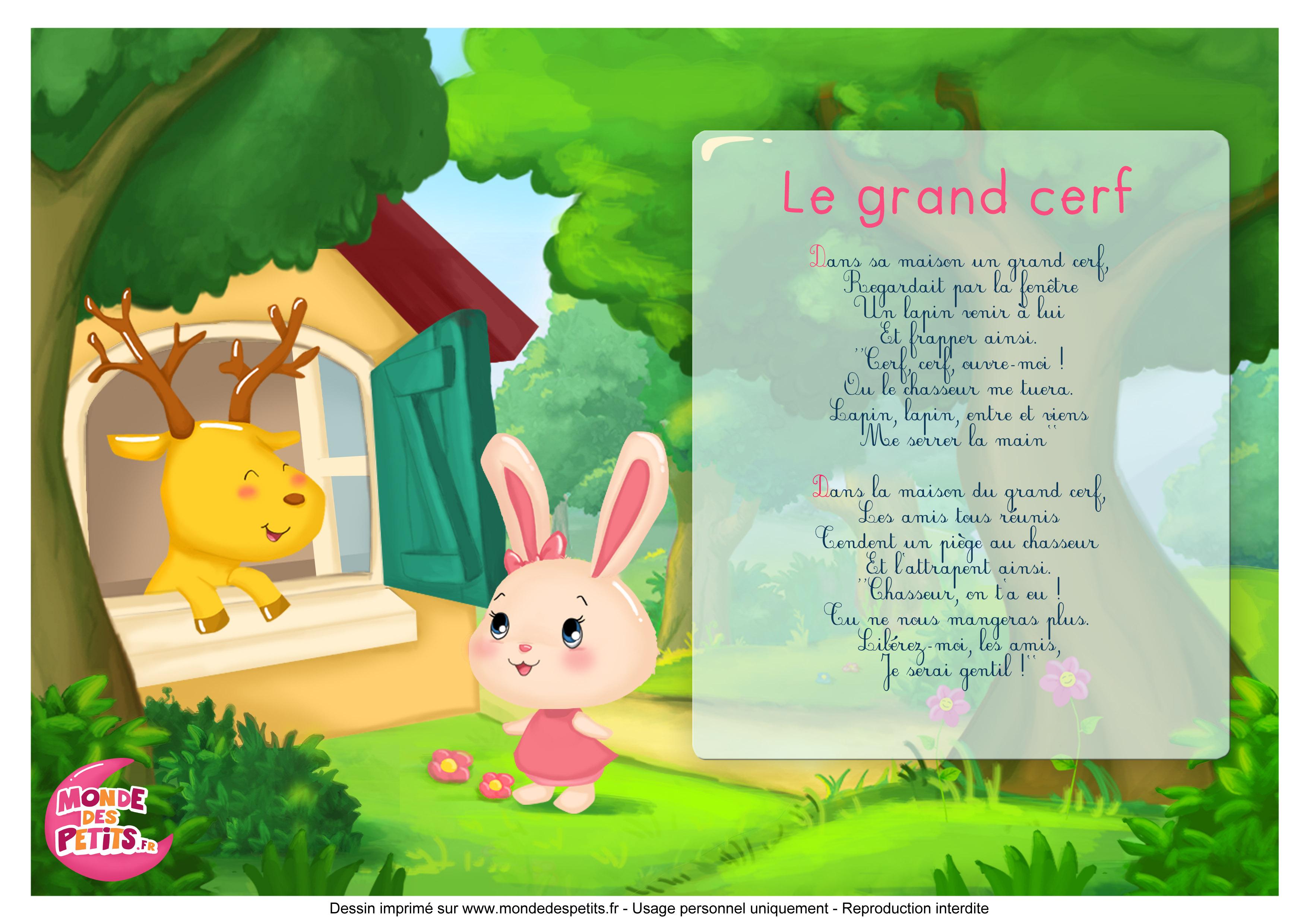 Monde Des Petits - Le Grand Cerf - Les Titounis tout Chanson Du Cerf Et Du Lapin