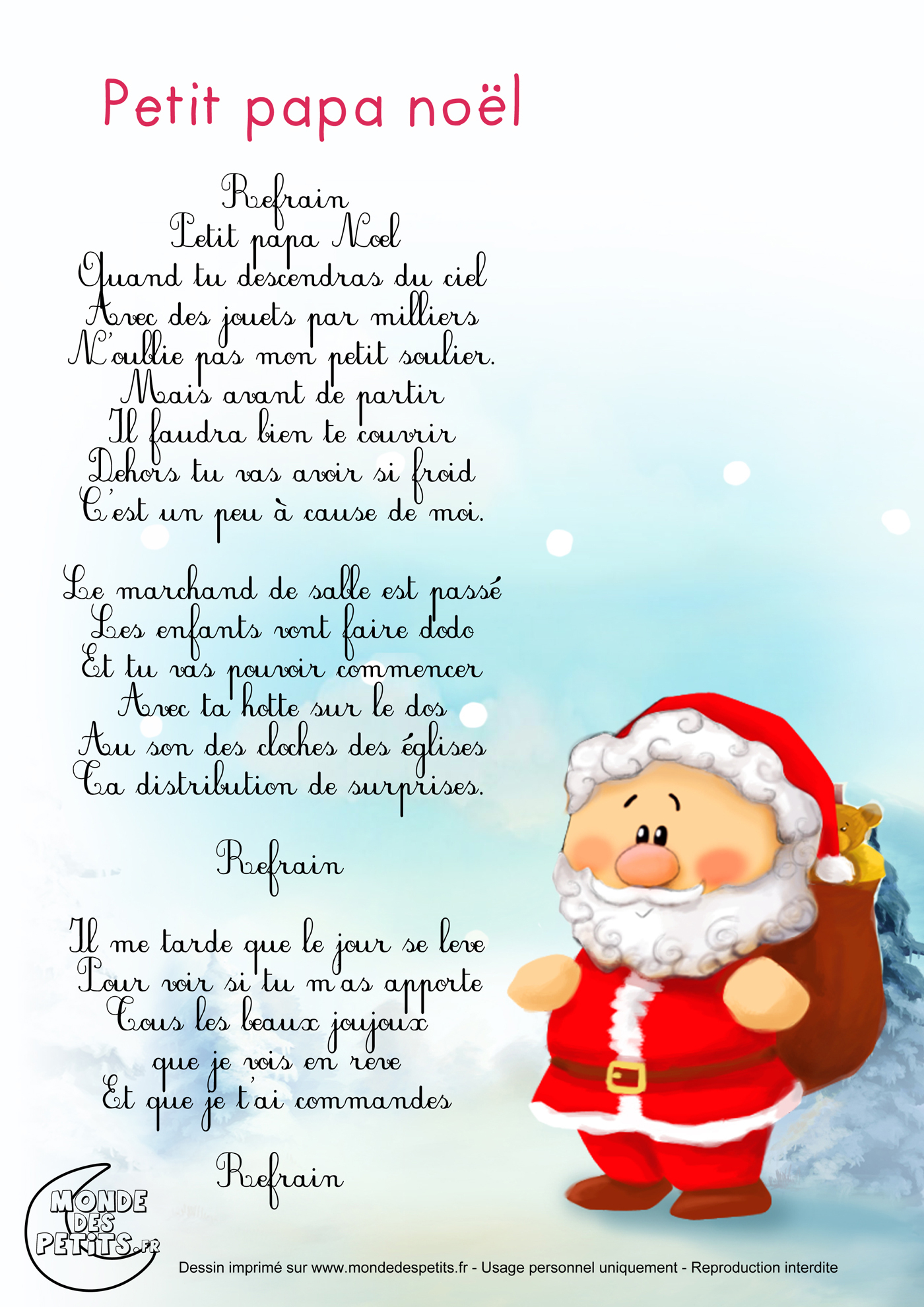 Monde Des Petits - Petit Papa Noël destiné Chanson De Noel Ecrite