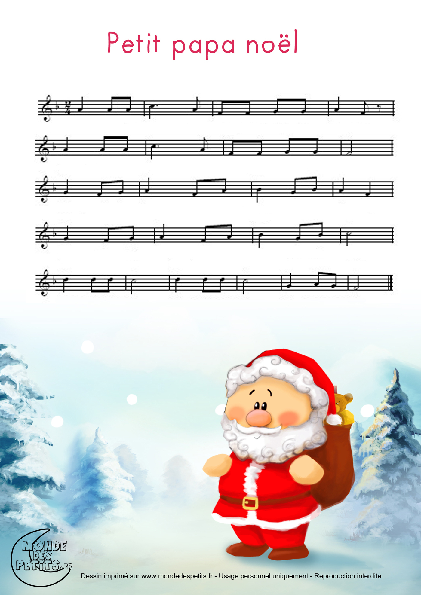 Monde Des Petits - Petit Papa Noël intérieur Chanson De Noel Ecrite