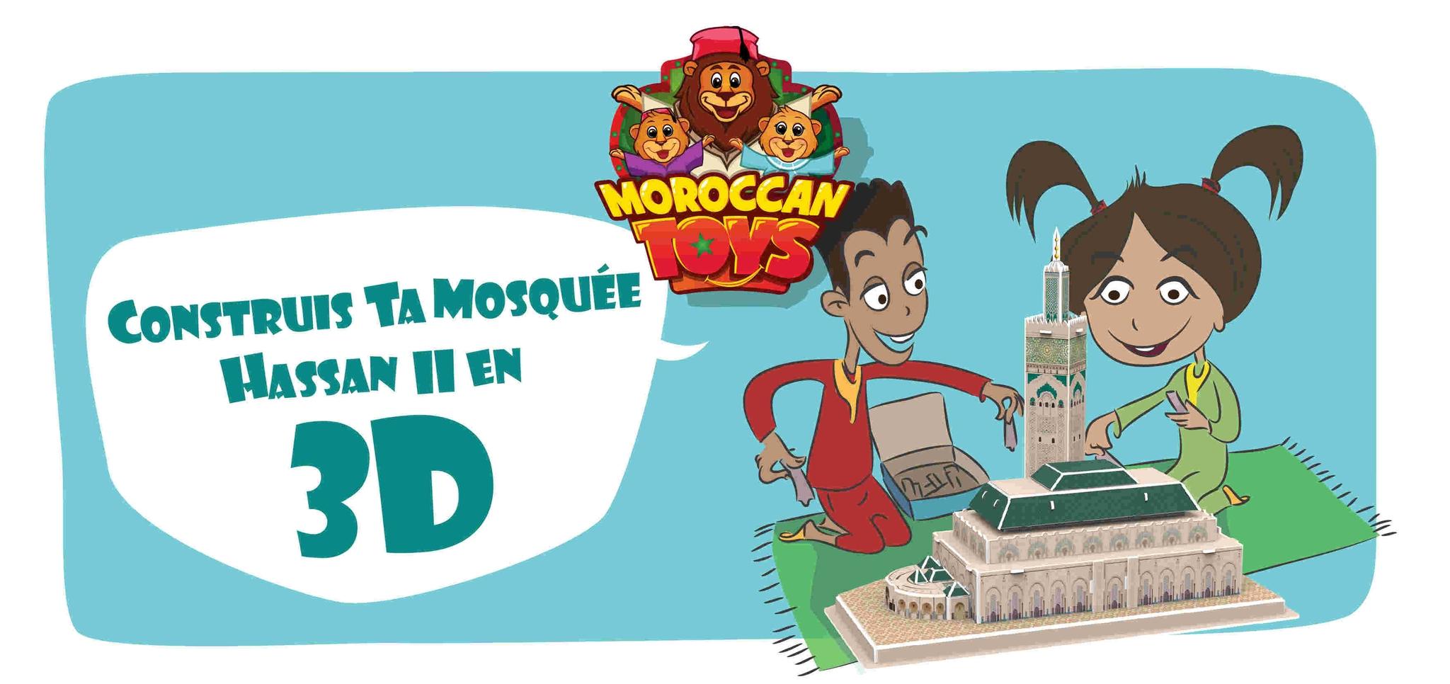 Moroccan Toys Puzzle 3D Mosquée Hassan Ii + Bande Dessinée avec Puzzle Gratuit Enfant