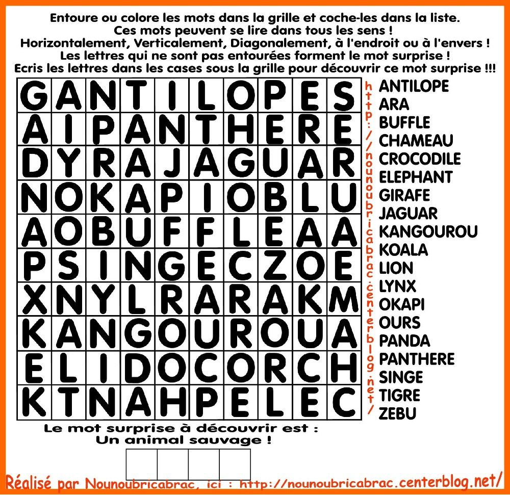 Mots Cachés Pour Enfants… Thème : Animaux Sauvages | Mots tout Jeux De Lettres Enfants