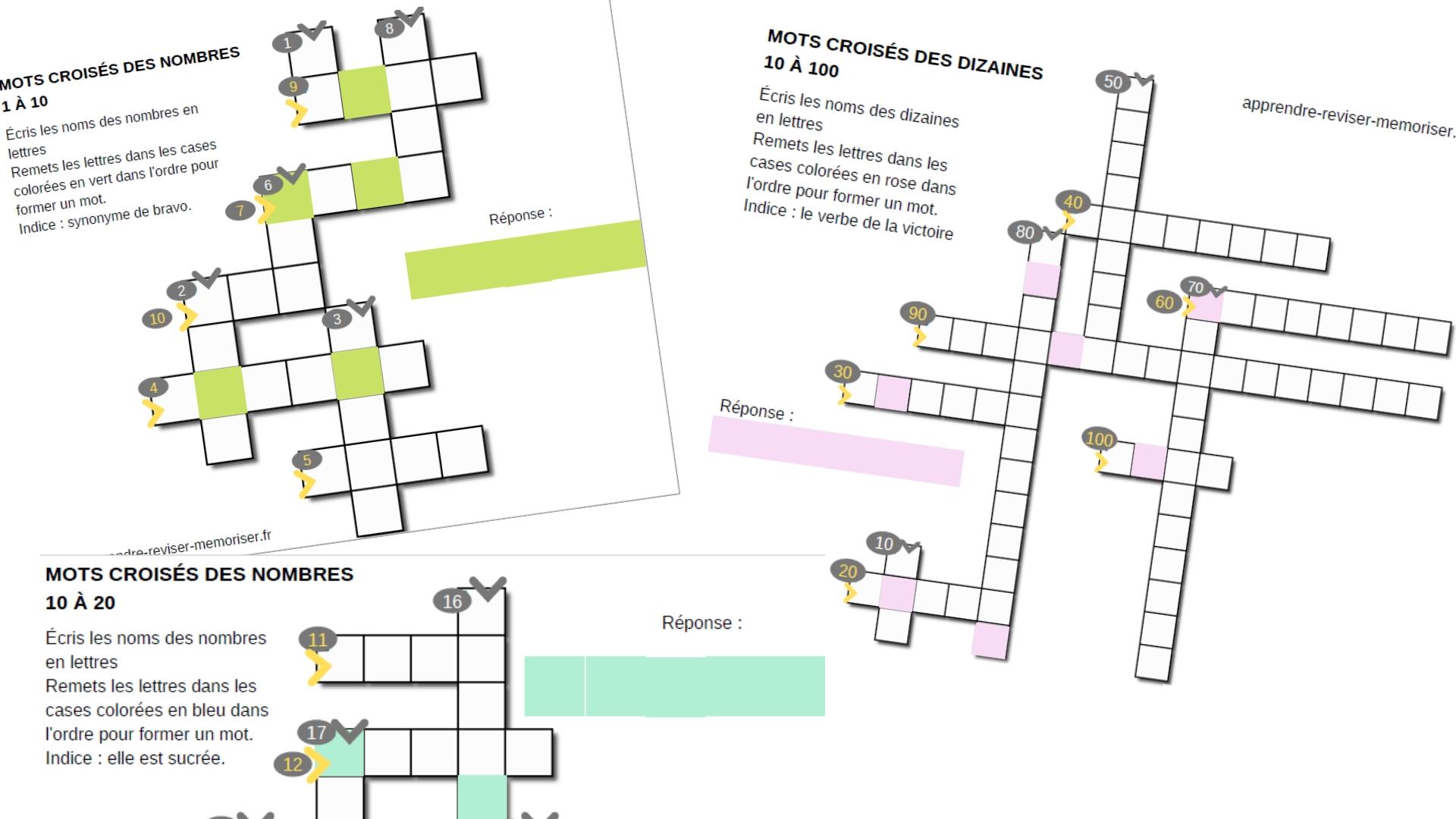Mots Croisés Des Nombres : 3 Jeux Pour Écrire Le Nom Des tout Jeux De Lettres Enfants