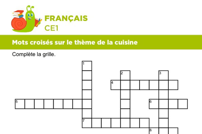 Mots Croisés Sur Le Thème De La Cuisine concernant Mot Croiser
