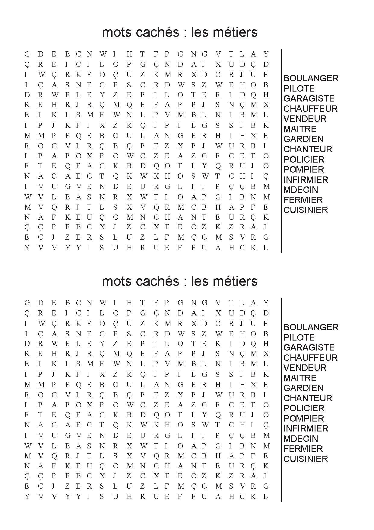 Mots Meles Metiers | Mots Meles, Mots Mélés À Imprimer, Mots dedans Mots Croisés Faciles À Imprimer