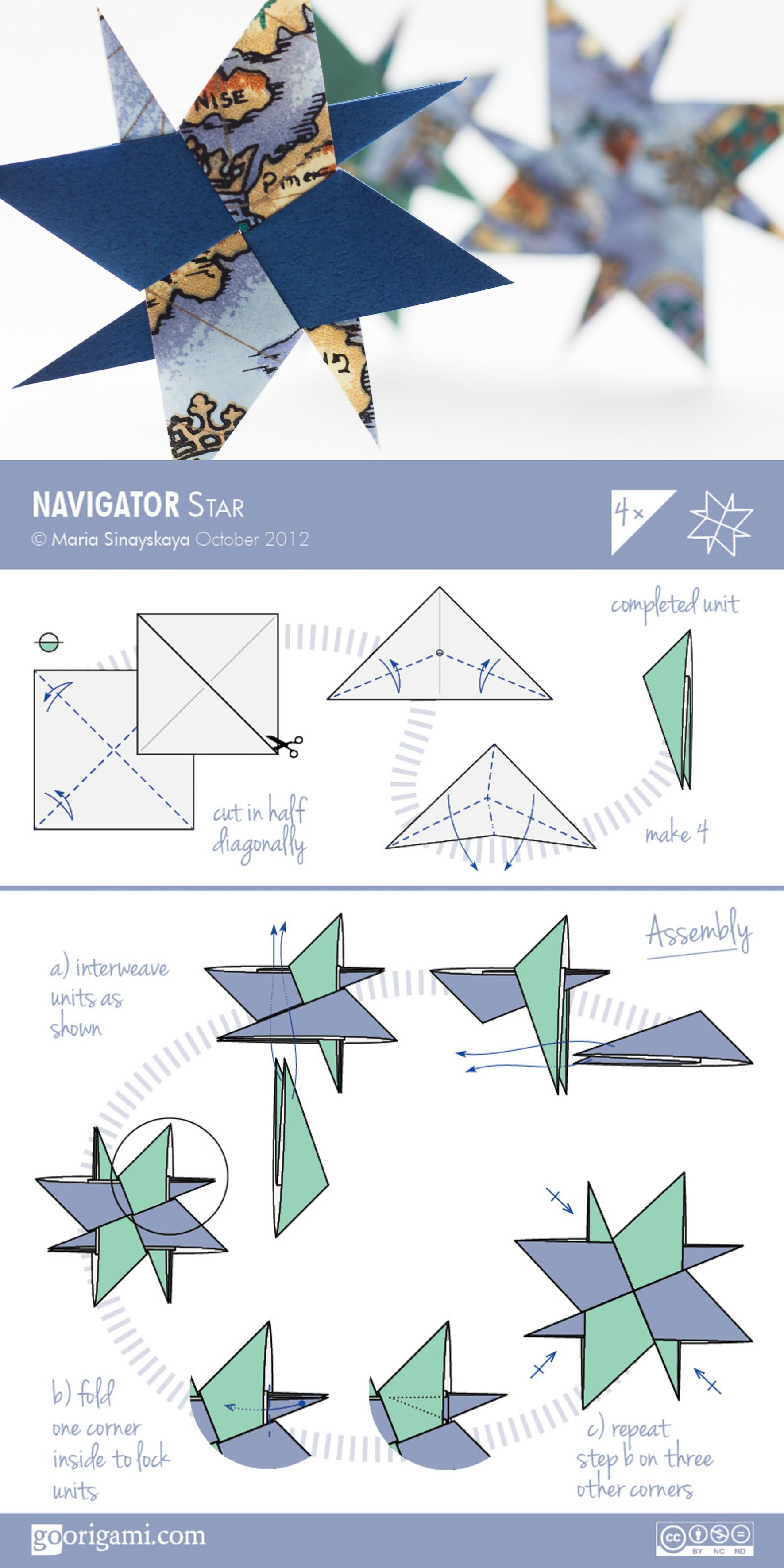 Navigator Star By Maria Sinayskaya — Diagram | Diagrammes avec Origami Rose Facile A Faire