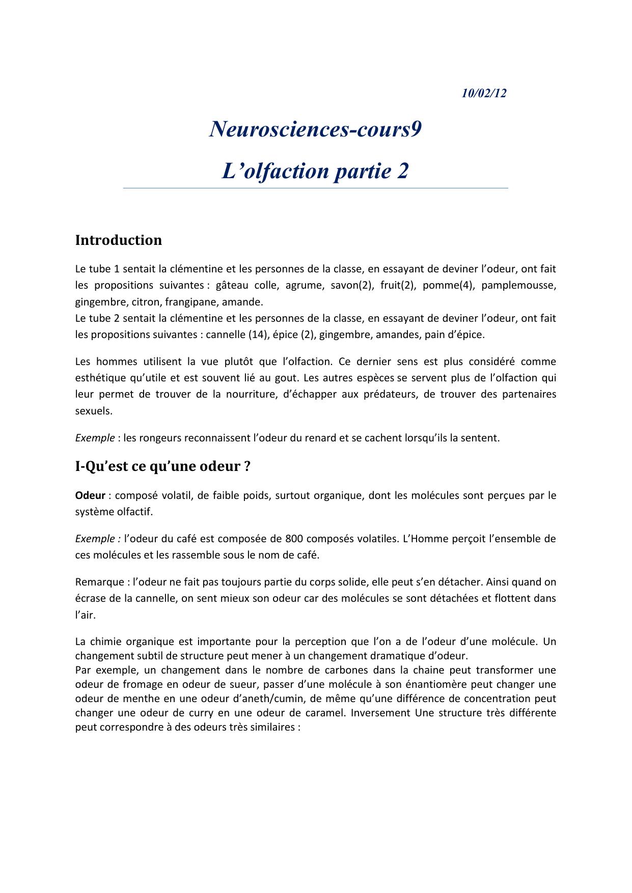 Neurosciences-Cours9 L'olfaction Partie 2 Introduction 10/02/12 tout Sens Olfactif