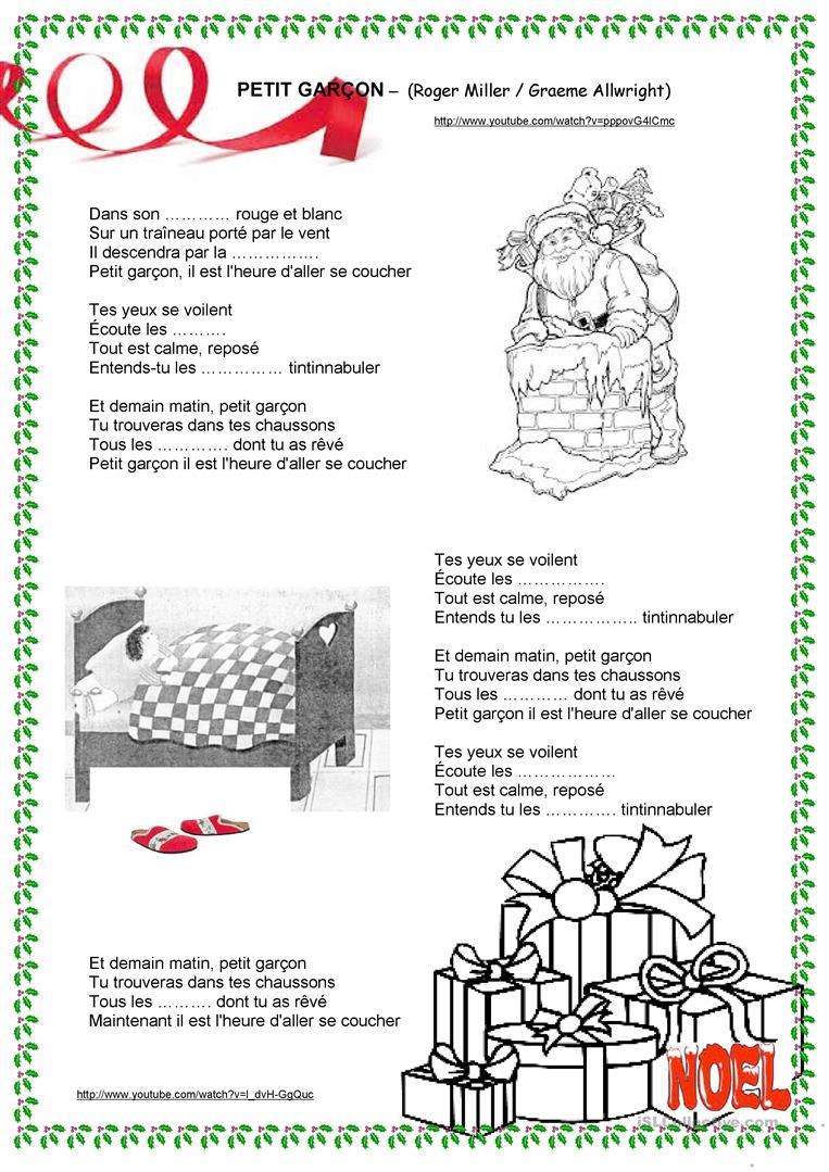 Noël - Chanson Petit Garçon - Français Fle Fiches Pedagogiques concernant Chanson De Noel Ecrite