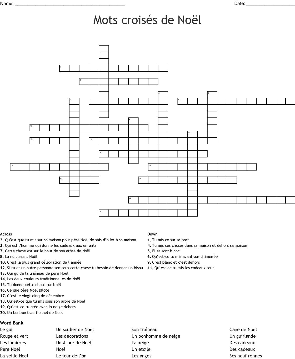 Noel Crossword - Wordmint à Mots Croisés Noel