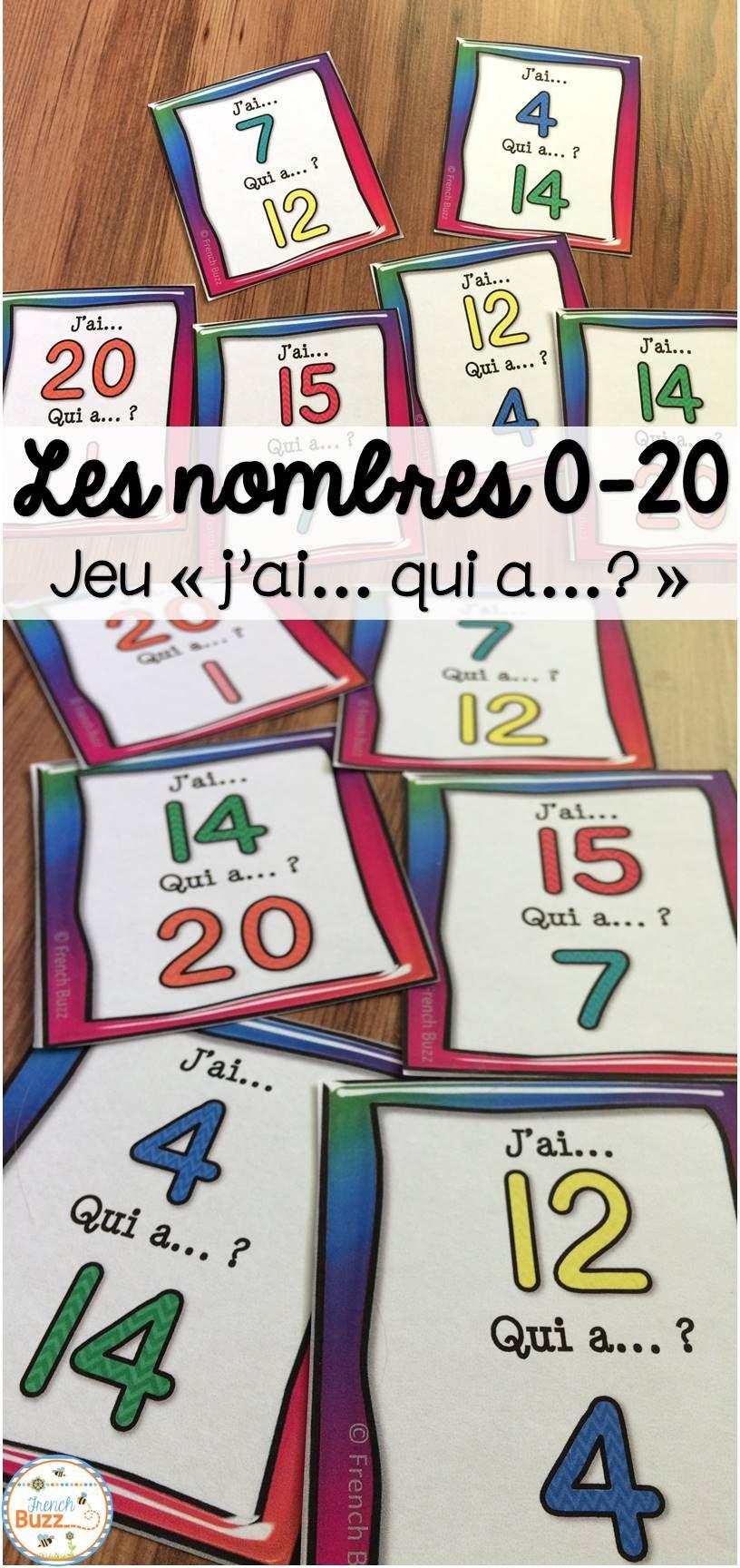 "Nombres 0-20 - Jeu ""j'ai Qui A?"" - French Numbers concernant Les Nombres De 0 À 20"