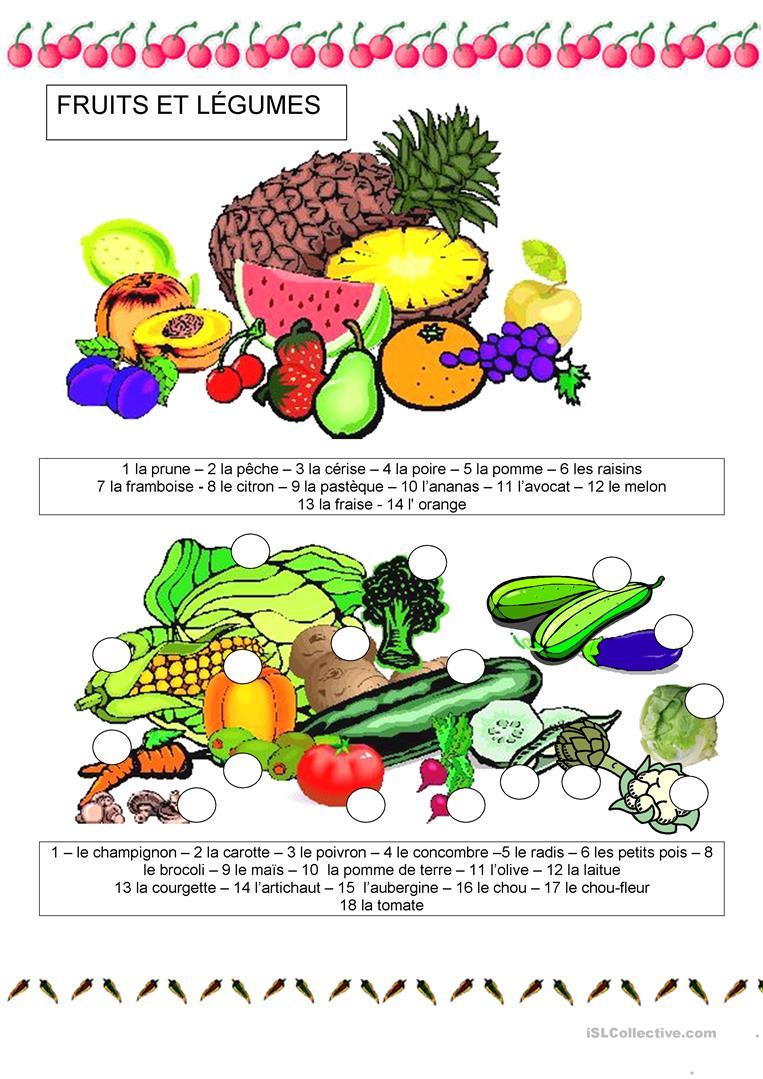 Nourriture - Fruits Et Légumes - Français Fle Fiches pour Chanson Sur Les Fruits Et Légumes