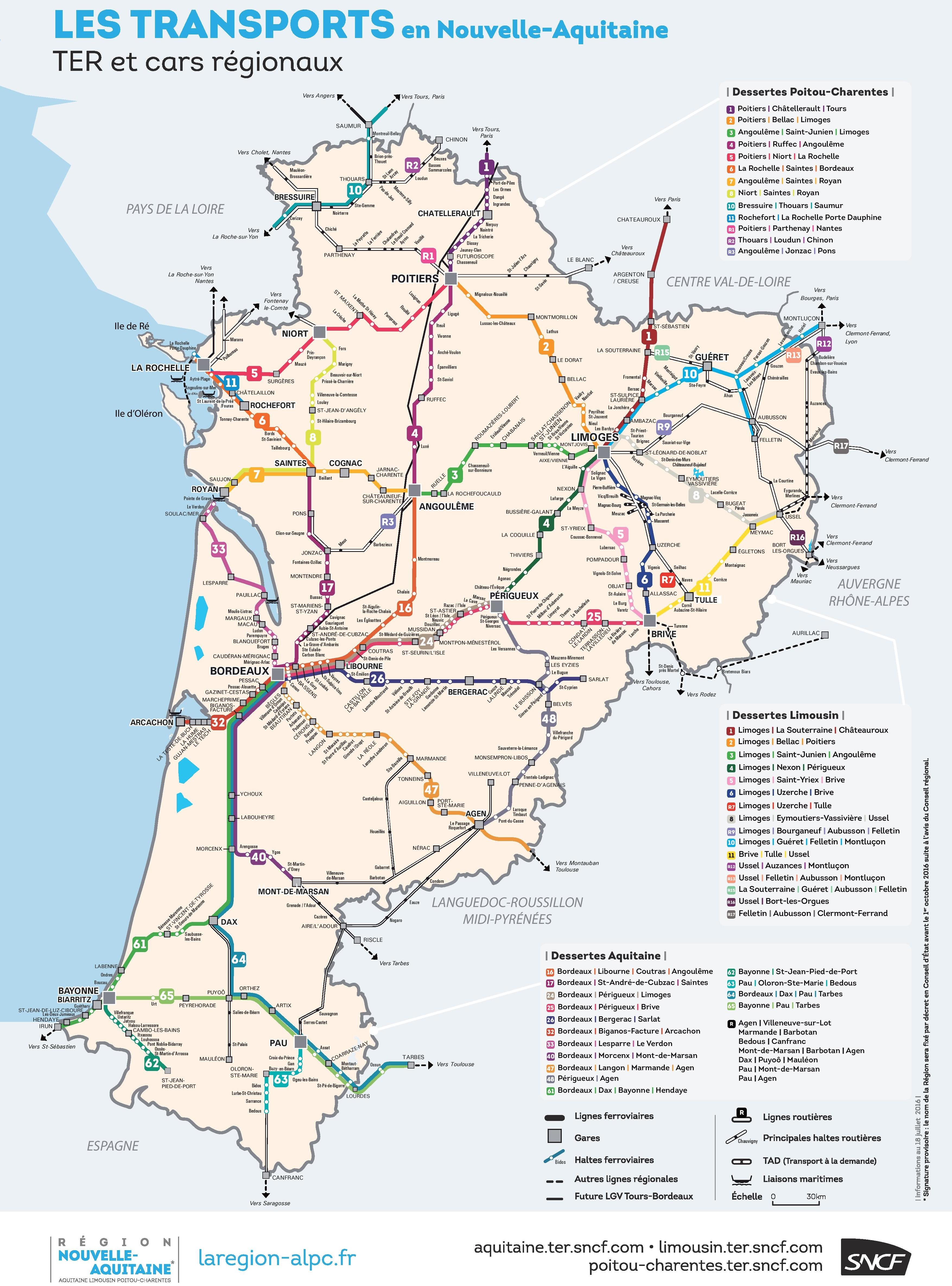 Nouvelle-Aquitaine Rail Map encequiconcerne Nouvelle Region France