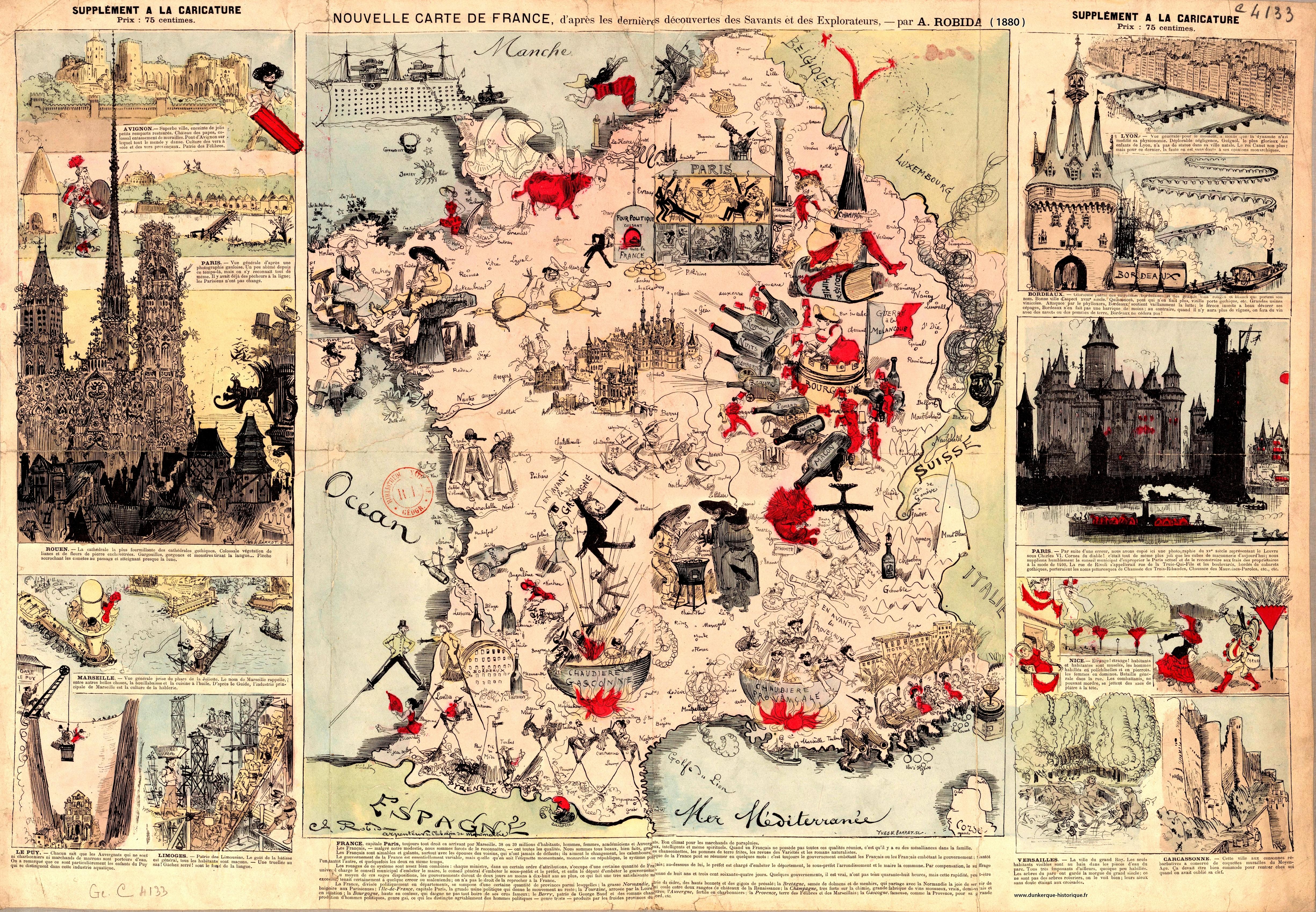 Nouvelle Carte De France Par A. Robida 1880 : France tout Carte De France Pour Les Enfants