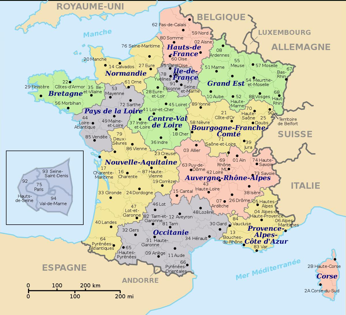 Numérotation Des Départements Français — Wikipédia tout Carte Numero Departement