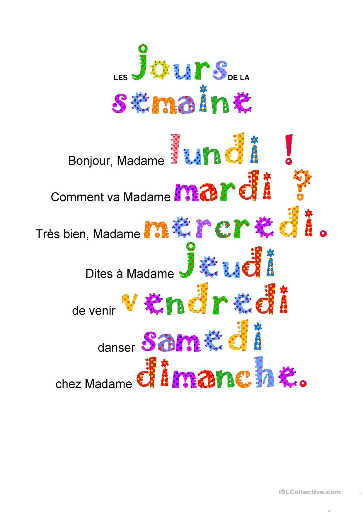 One-Click Print Document | Comptines, Comptine Maternelle tout Comptine Bonjour Madame Lundi