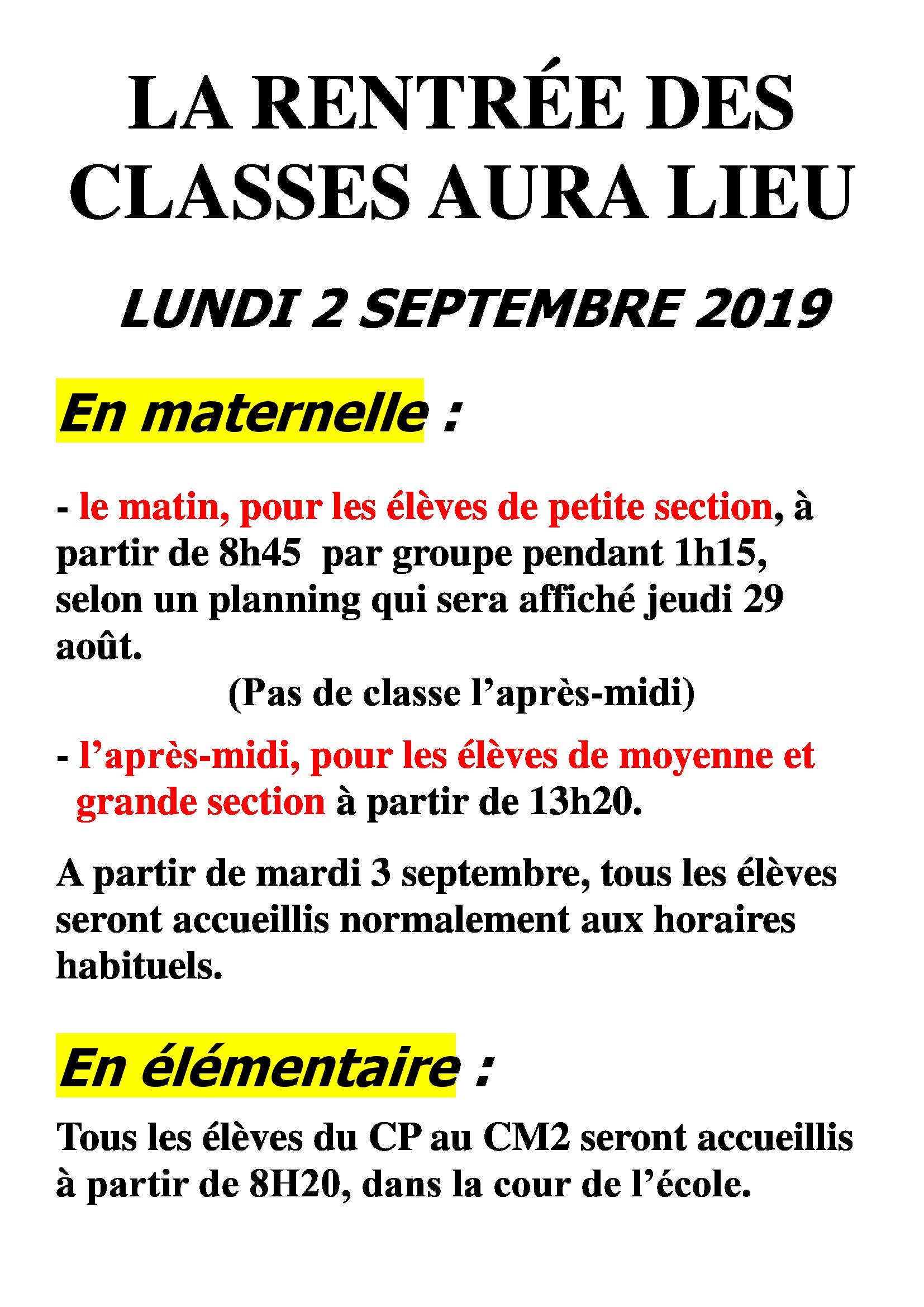 Organisation De La Rentrée 2019   Ecole Primaire De Sous Aléry dedans Rentrée En Grande Section