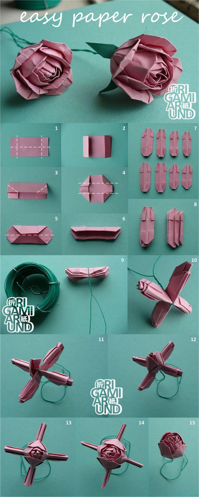 Origami Around | Fleur Origami Facile, Origami, Comment destiné Origami Rose Facile A Faire