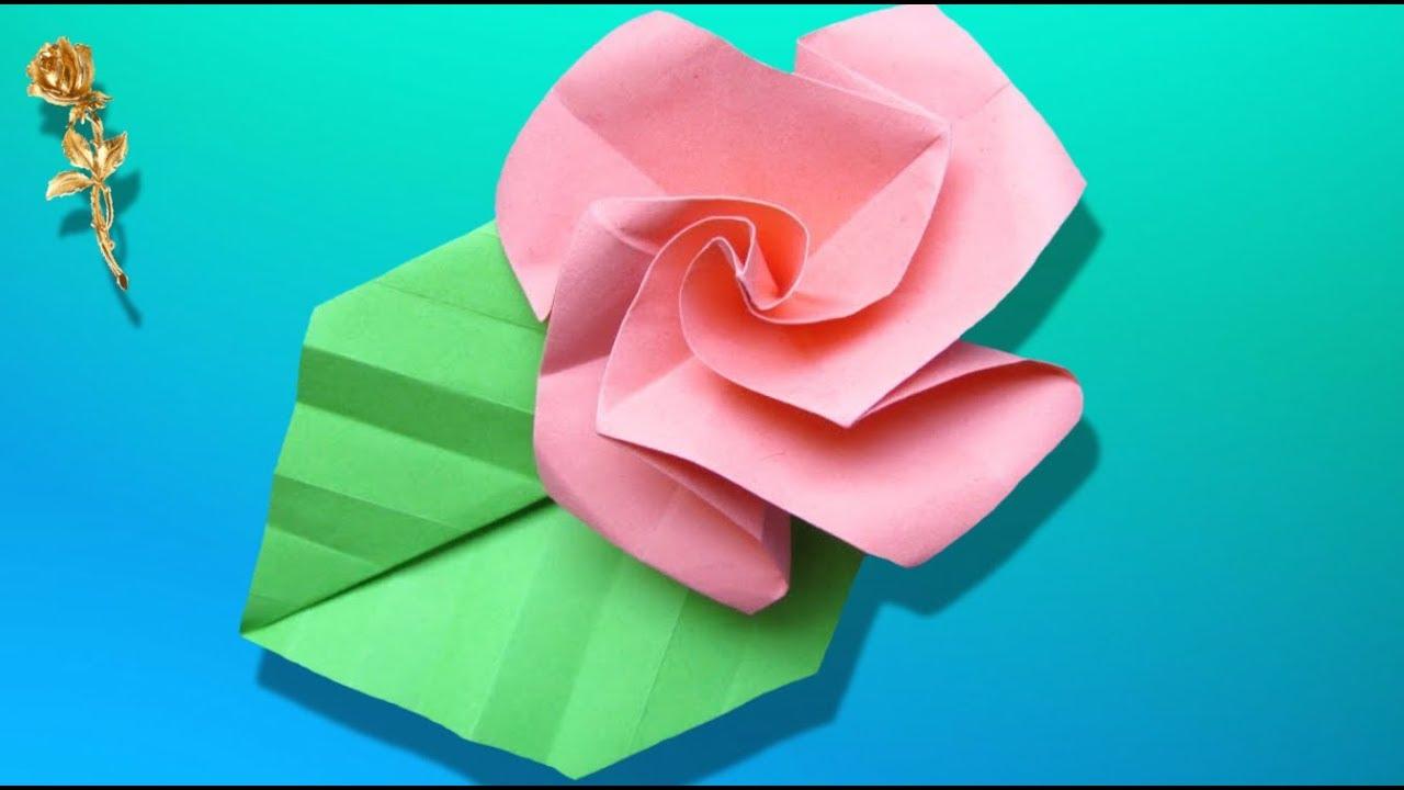 Origami Facile : 🌹 Rose La Plus Facile À Plier En Papier tout Origami Rose Facile A Faire