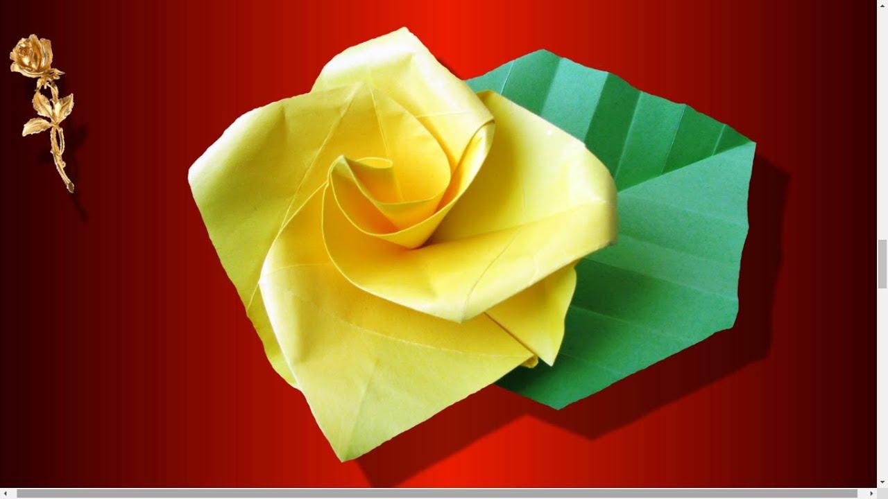 Origami Facile : 🌹 Rose Très Très Facile À Plier En Papier destiné Origami Rose Facile A Faire