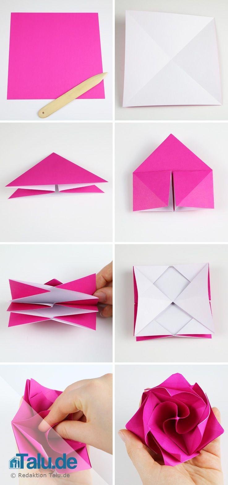 Origami Rose Aus Papier Falten - Diy-Anleitung En 2020 tout Origami Rose Facile A Faire