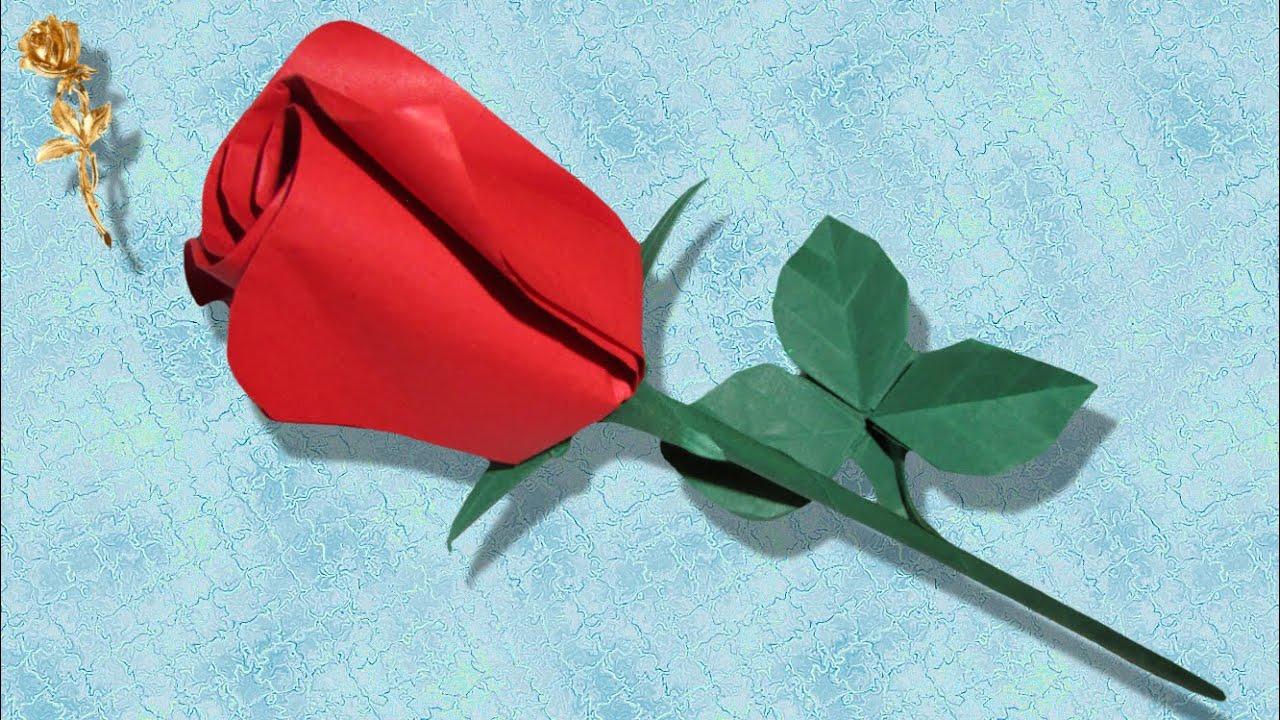 Origami : Rose Facile Semi-Ouverte Avec Calice, Feuille Triplée Et Tige destiné Origami Rose Facile A Faire