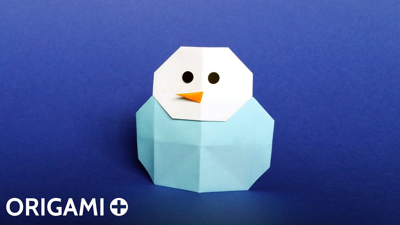 Origami Snowman - Bonhomme De Neige, Muñeco De Nieve, Boneco De Neve,  Pupazzo Di Neve, Schneemann avec Origami Bonhomme De Neige