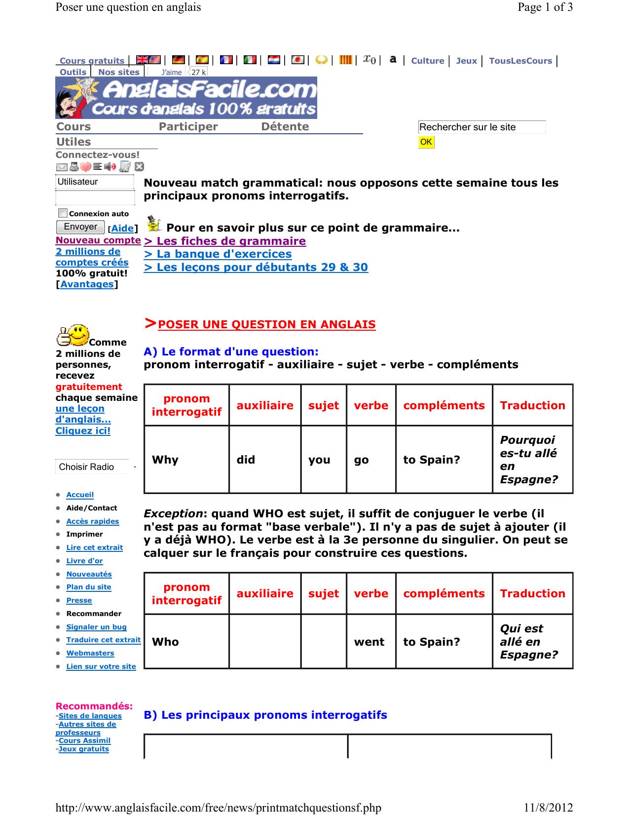 Page 1 Of 3 Poser Une Question En Anglais 11/8/2012 Http:// concernant Jeux En Anglais Gratuit