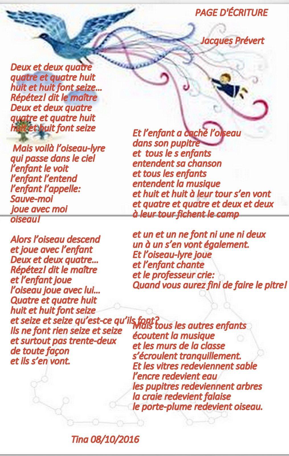 Page D'écriture - Poème De Jacques Prévert - Yves Montand à Poeme De Jacque Prevert