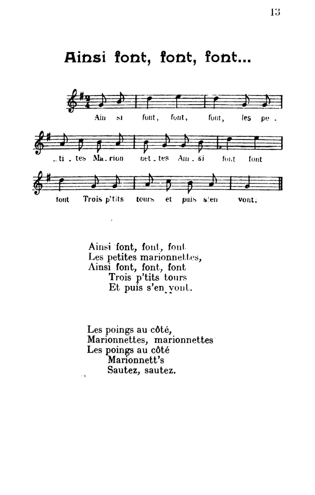 Page:chansons Populaires Enfantines.djvu/17 - Wikisource pour Les Petites Marionnettes Chanson