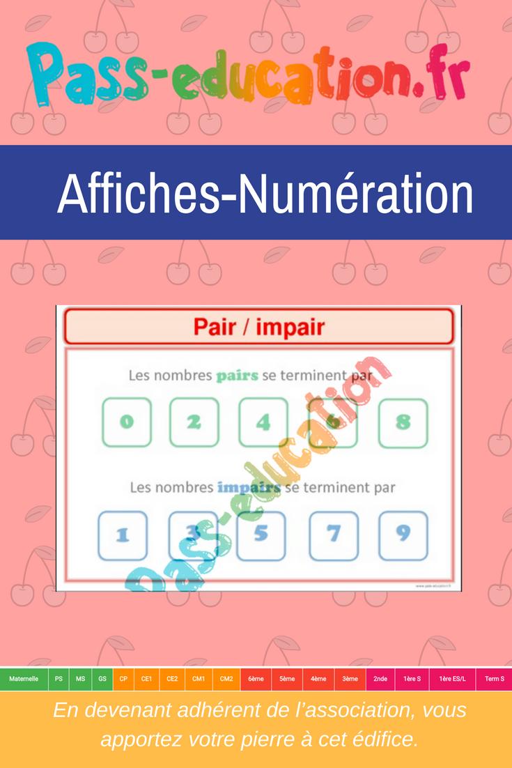 Pair-Impair- Ce1 - Ce2 - Cm1 - Cm2 - Affiche Pour La Classe à Nombres Pairs Et Impairs Ce2