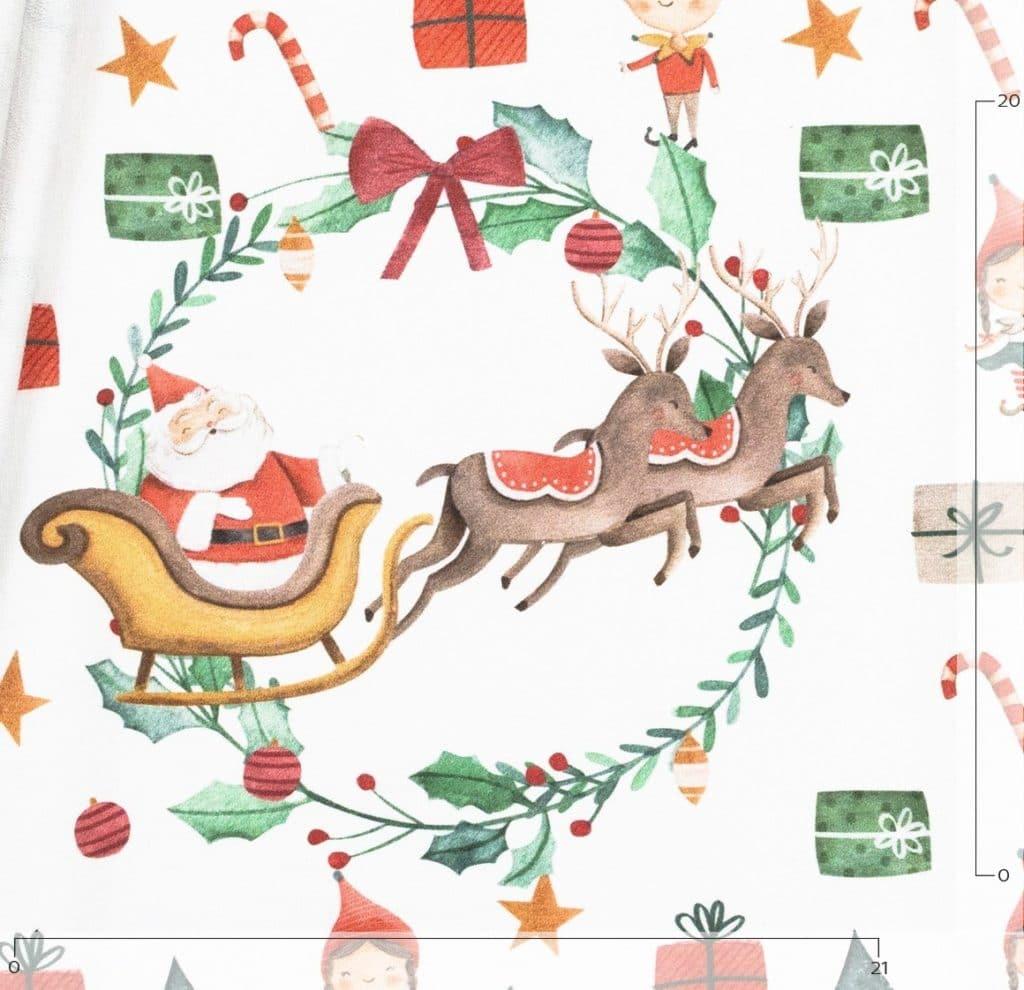 Panneau De Tissu Jersey: Le Père Noël, Son Traineau Et Ses Lutins intérieur Image Du Pere Noel Et Son Traineau