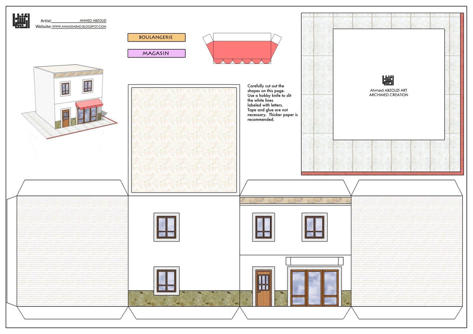 Paper House Print Out (Avec Images)   Faire Plan Maison dedans Patron De Maison En Papier A Imprimer